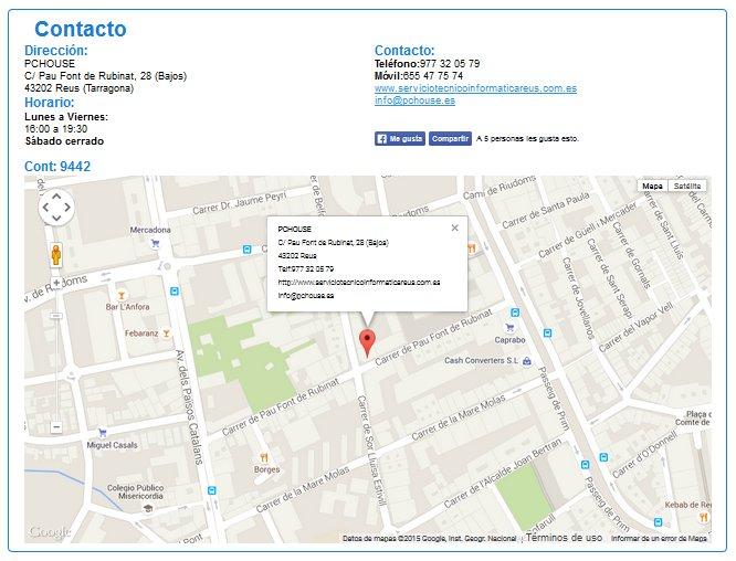 sección de contacto diseño web